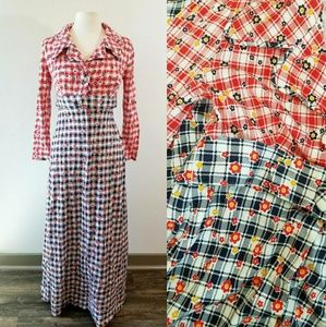 Vintage 1960's Flower Power Maxi Dress
